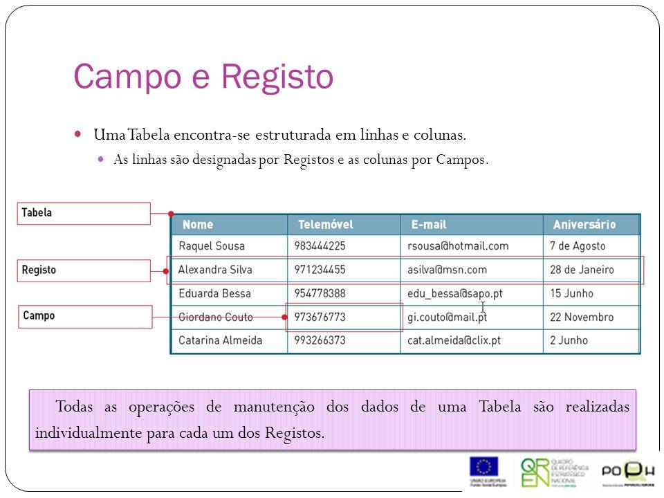 Uma Tabela encontra-se estruturada em linhas e colunas. As linhas são designadas por Registos e as colunas por Campos. Todas as operações de manutençã