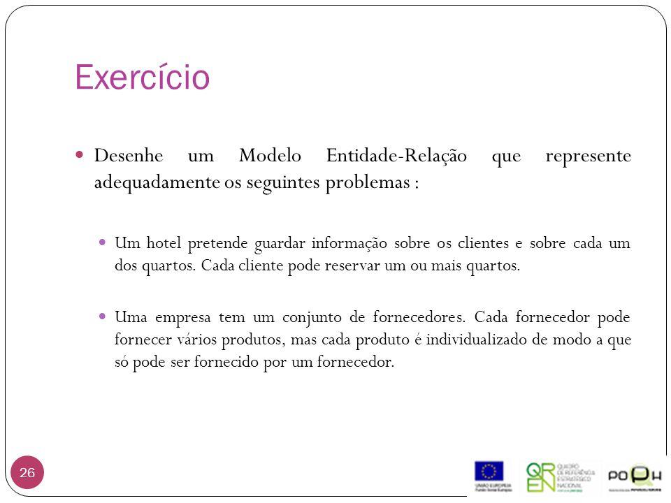 Exercício 26 Desenhe um Modelo Entidade-Relação que represente adequadamente os seguintes problemas : Um hotel pretende guardar informação sobre os cl