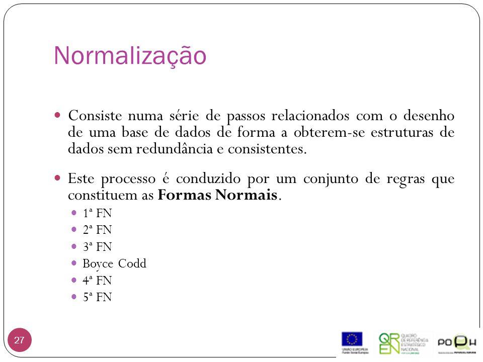 Normalização 27 Consiste numa série de passos relacionados com o desenho de uma base de dados de forma a obterem-se estruturas de dados sem redundância e consistentes.