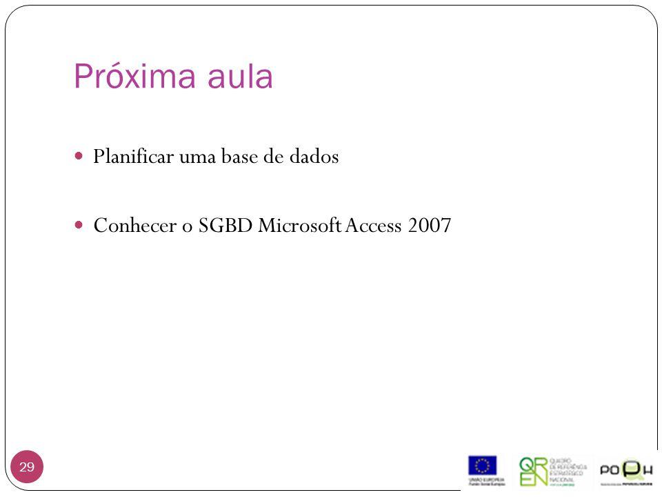 Próxima aula 29 Planificar uma base de dados Conhecer o SGBD Microsoft Access 2007