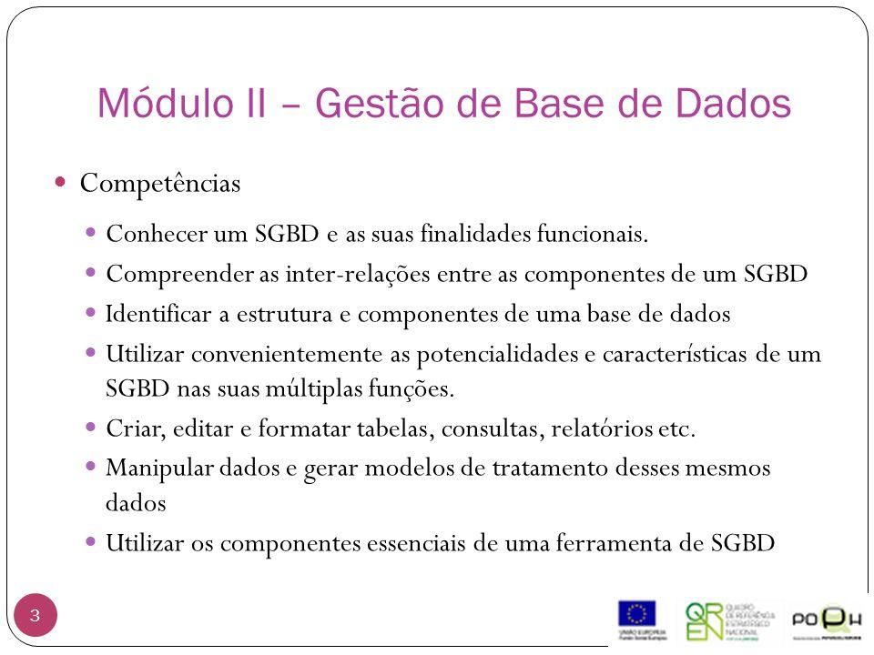 Módulo II – Gestão de Base de Dados 3 Competências Conhecer um SGBD e as suas finalidades funcionais. Compreender as inter-relações entre as component