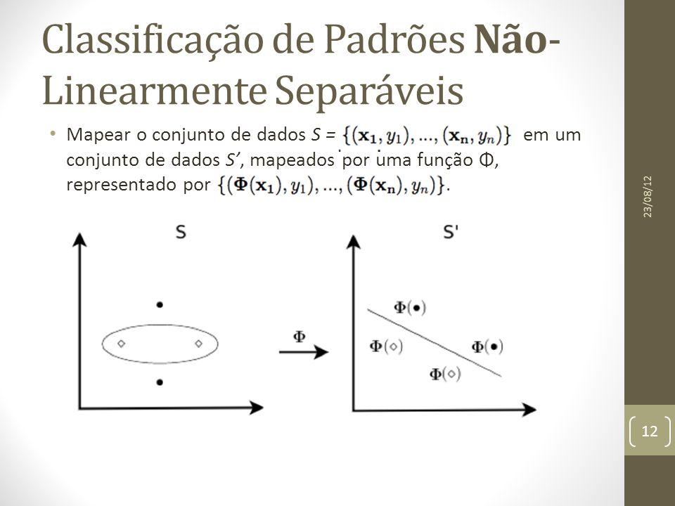 Classificação de Padrões Não- Linearmente Separáveis Mapear o conjunto de dados S = em um conjunto de dados S', mapeados por uma função Φ, representado por.