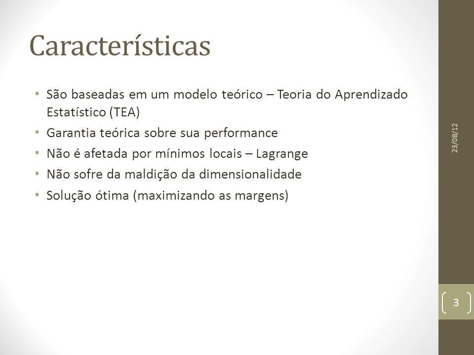 Classificação de Padrões Linearmente Separáveis Determinar uma função que atribui um rótulo (+1) se e (-1) caso contrário 23/08/12 4