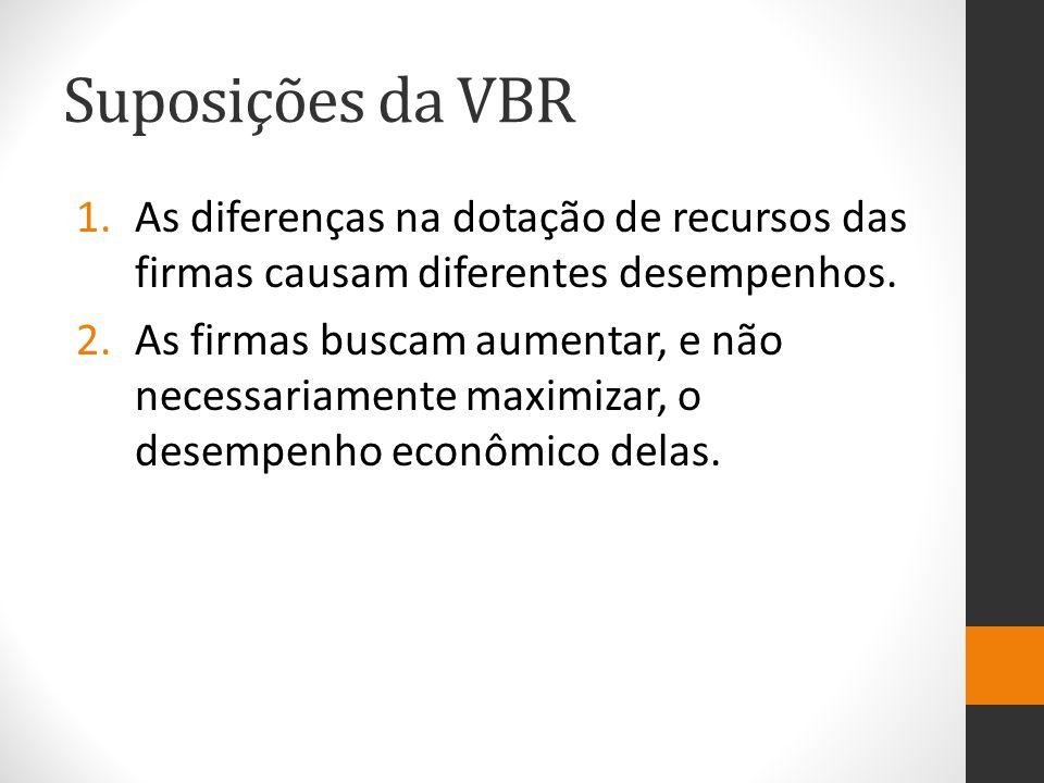 Suposições da VBR 1.As diferenças na dotação de recursos das firmas causam diferentes desempenhos. 2.As firmas buscam aumentar, e não necessariamente