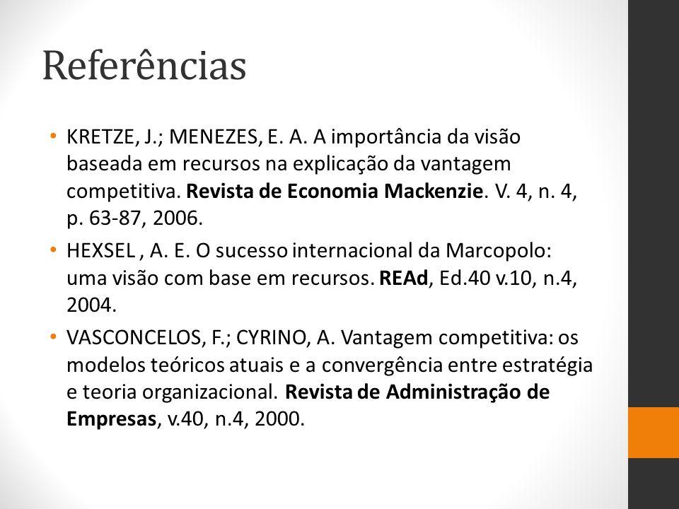 Referências KRETZE, J.; MENEZES, E. A. A importância da visão baseada em recursos na explicação da vantagem competitiva. Revista de Economia Mackenzie