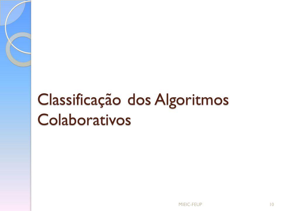 Classificação dos Algoritmos Colaborativos MIEIC-FEUP10