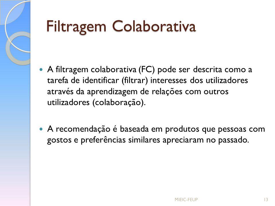 Filtragem Colaborativa A filtragem colaborativa (FC) pode ser descrita como a tarefa de identificar (filtrar) interesses dos utilizadores através da a
