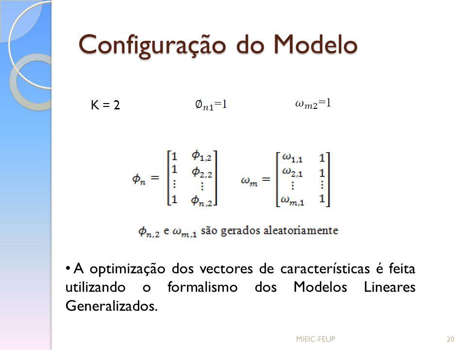 Configuração do Modelo MIEIC-FEUP20 K = 2 A optimização dos vectores de características é feita utilizando o formalismo dos Modelos Lineares Generaliz