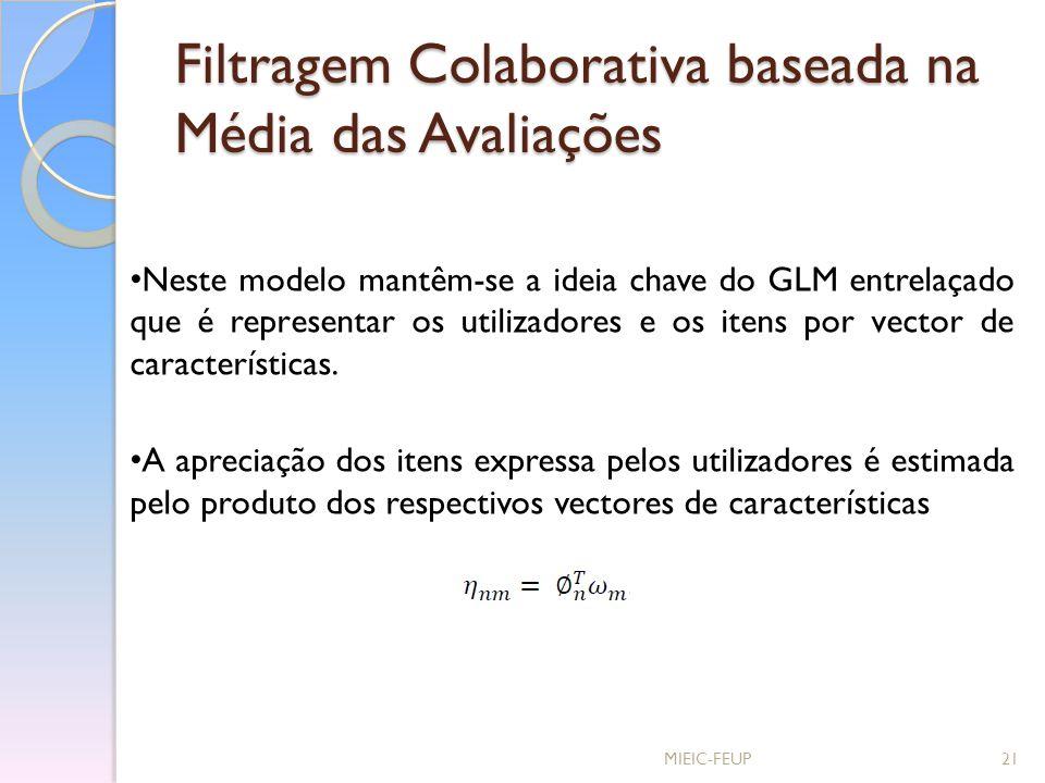 Filtragem Colaborativa baseada na Média das Avaliações MIEIC-FEUP21 Neste modelo mantêm-se a ideia chave do GLM entrelaçado que é representar os utili