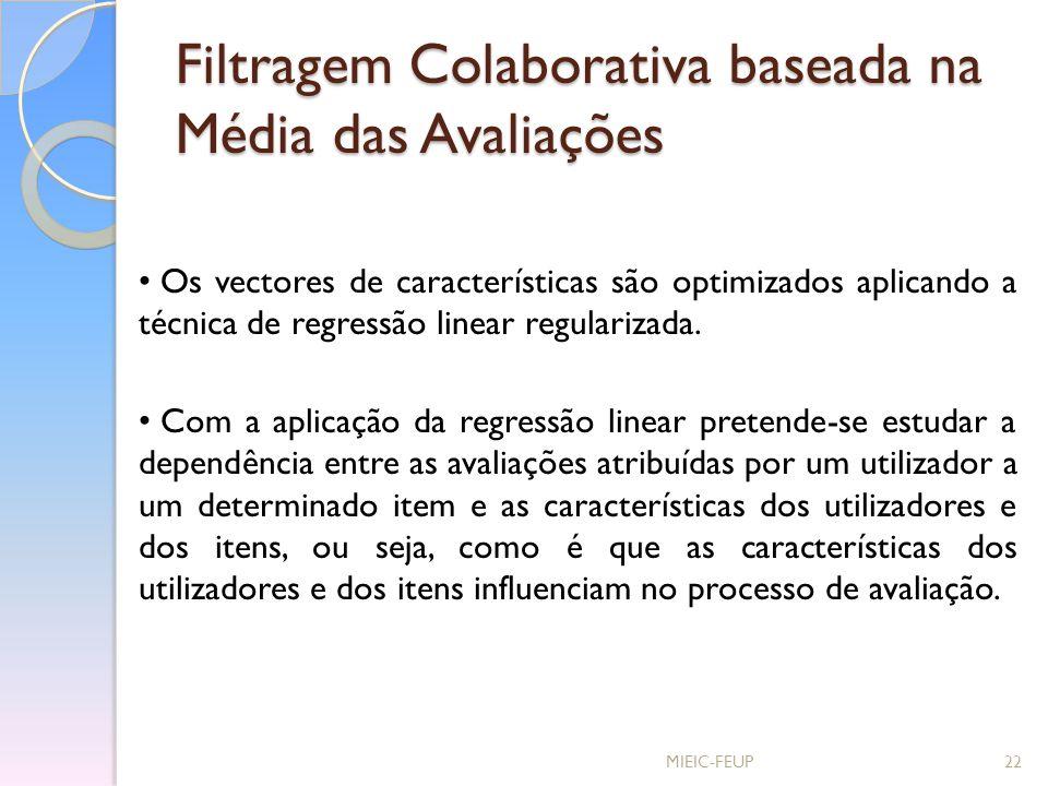 Filtragem Colaborativa baseada na Média das Avaliações MIEIC-FEUP22 Os vectores de características são optimizados aplicando a técnica de regressão li