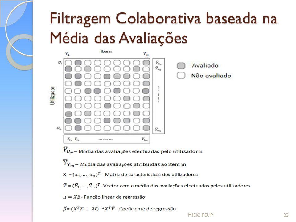 Filtragem Colaborativa baseada na Média das Avaliações MIEIC-FEUP23