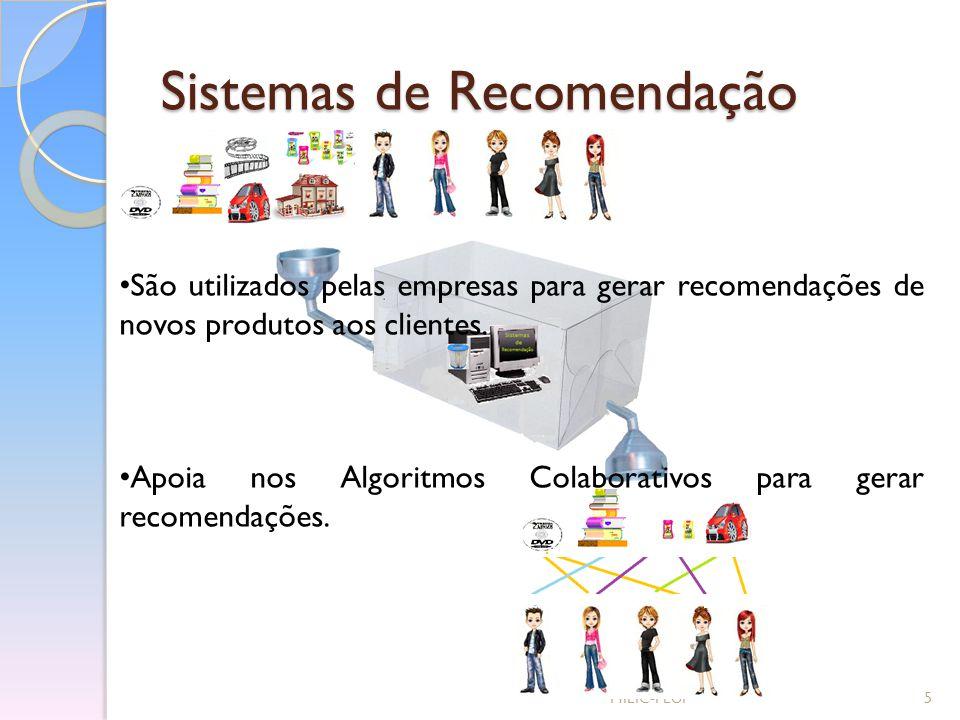 Sistemas de Recomendação MIEIC-FEUP5 São utilizados pelas empresas para gerar recomendações de novos produtos aos clientes. Apoia nos Algoritmos Colab