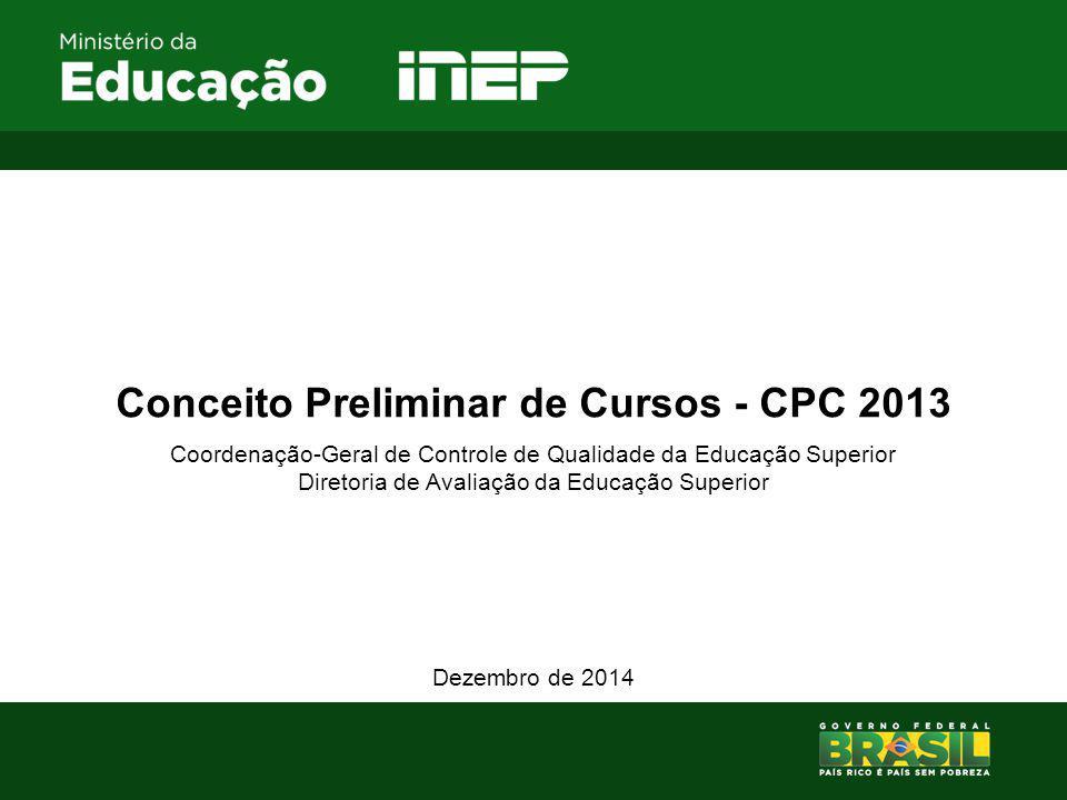 Conceito Preliminar de Cursos - CPC 2013 Coordenação-Geral de Controle de Qualidade da Educação Superior Diretoria de Avaliação da Educação Superior Dezembro de 2014