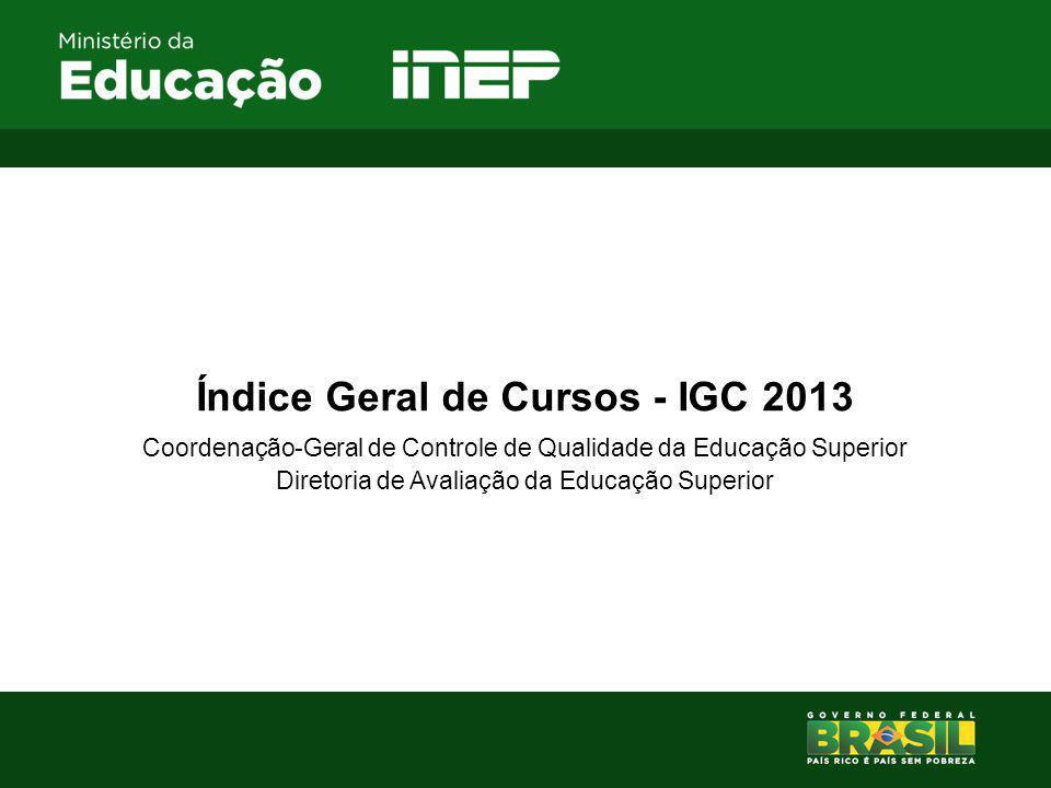 Índice Geral de Cursos - IGC 2013 Coordenação-Geral de Controle de Qualidade da Educação Superior Diretoria de Avaliação da Educação Superior