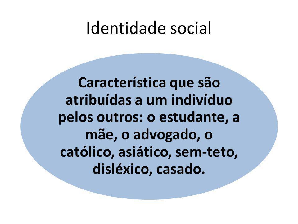 Identidade social Característica que são atribuídas a um indivíduo pelos outros: o estudante, a mãe, o advogado, o católico, asiático, sem-teto, dislé