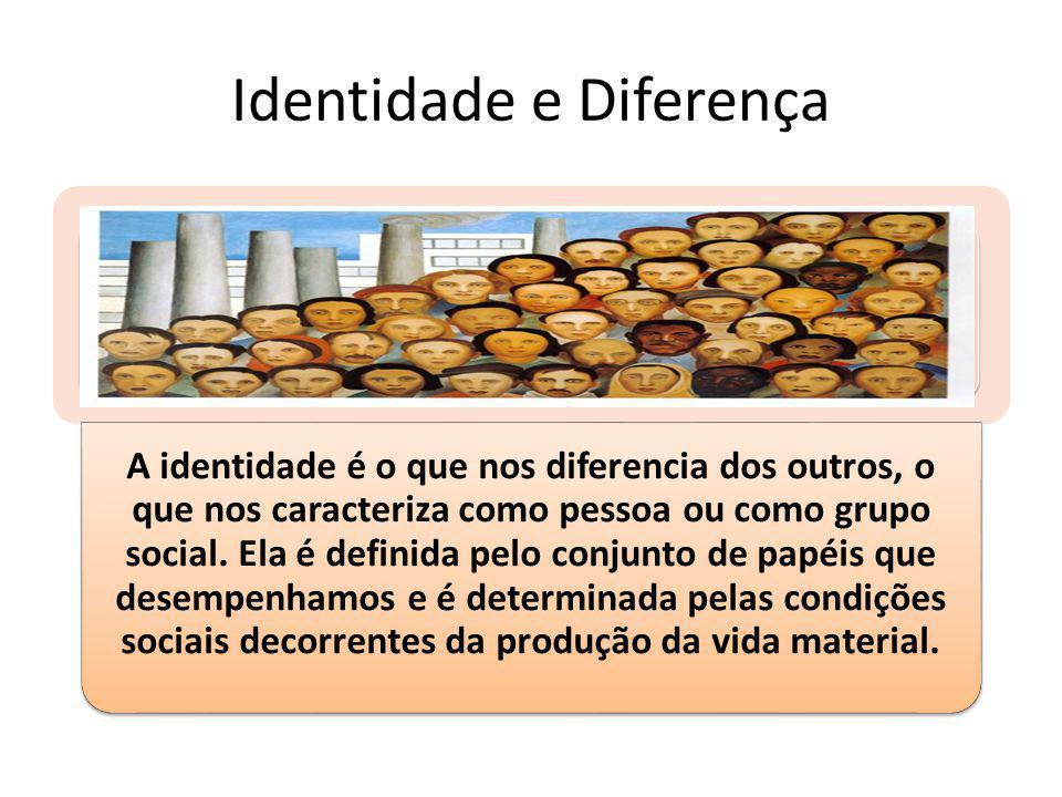 Identidade e Diferença A identidade é o que nos diferencia dos outros, o que nos caracteriza como pessoa ou como grupo social. Ela é definida pelo con