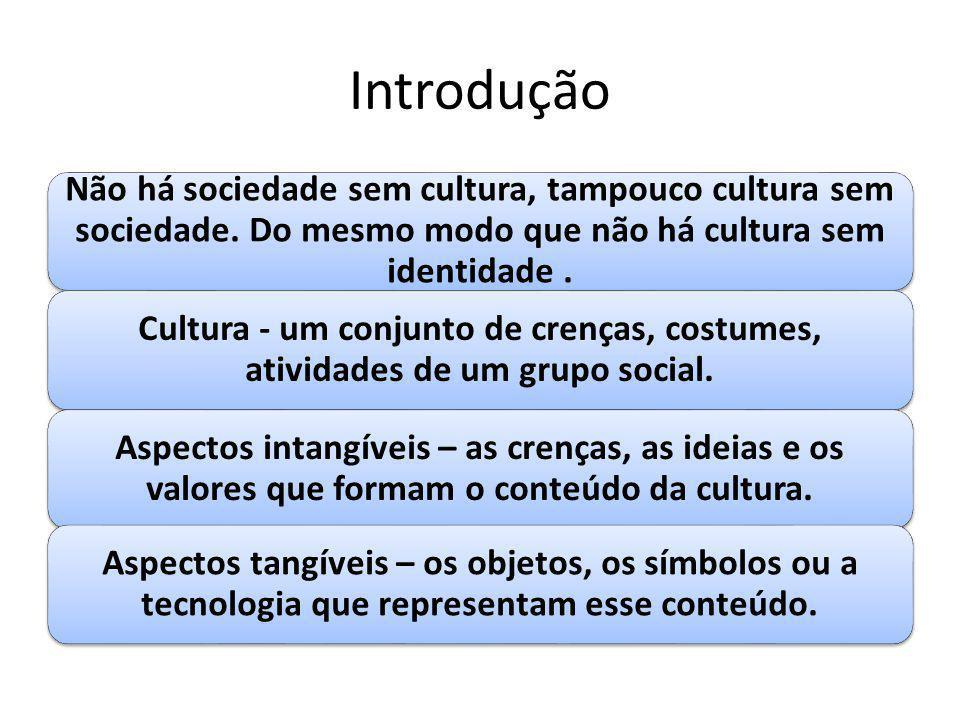 Introdução Não há sociedade sem cultura, tampouco cultura sem sociedade. Do mesmo modo que não há cultura sem identidade. Cultura - um conjunto de cre