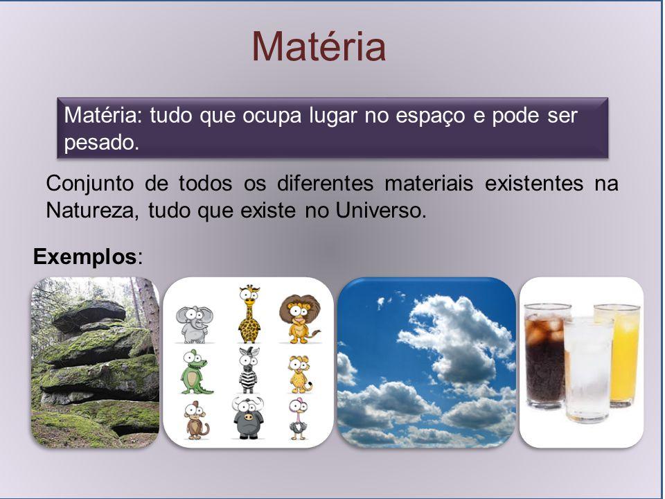 Matéria Matéria: tudo que ocupa lugar no espaço e pode ser pesado. Conjunto de todos os diferentes materiais existentes na Natureza, tudo que existe n
