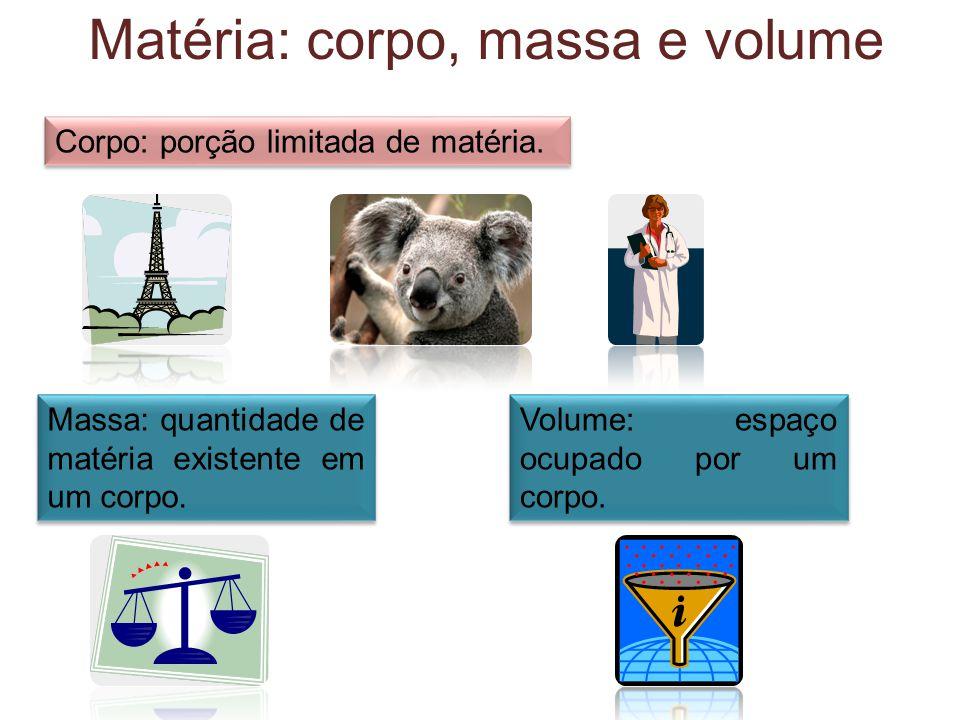 Corpo: porção limitada de matéria. Matéria: corpo, massa e volume Massa: quantidade de matéria existente em um corpo. Volume: espaço ocupado por um co