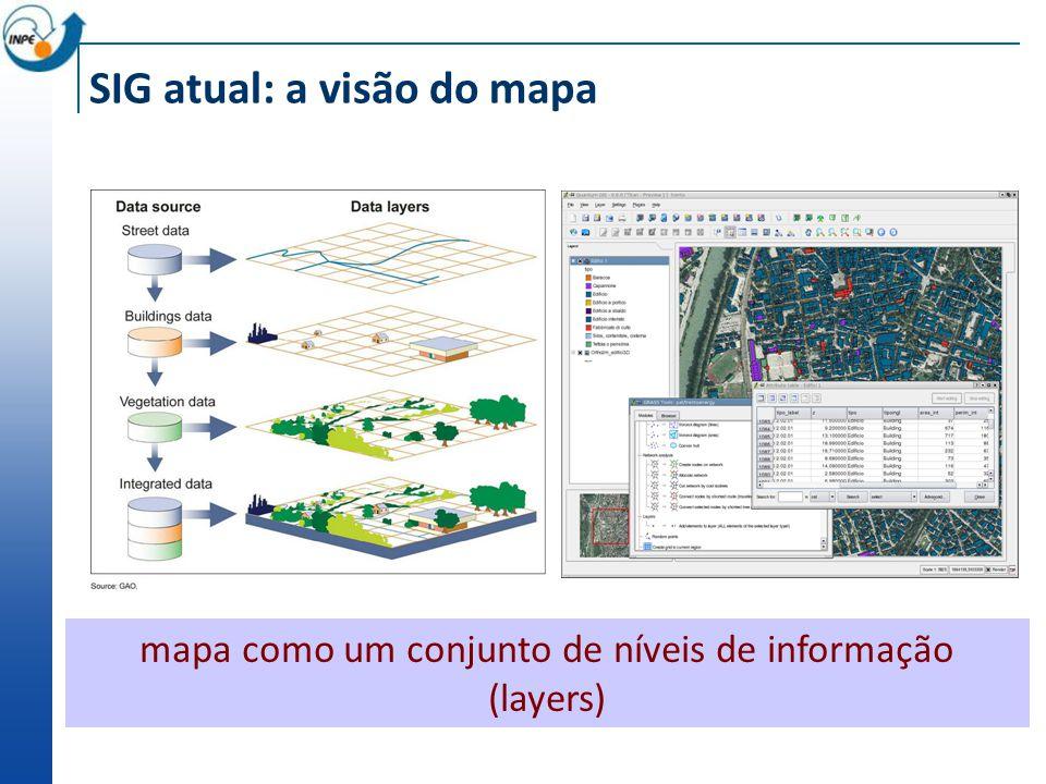 SIG atual: a visão do mapa mapa como um conjunto de níveis de informação (layers)
