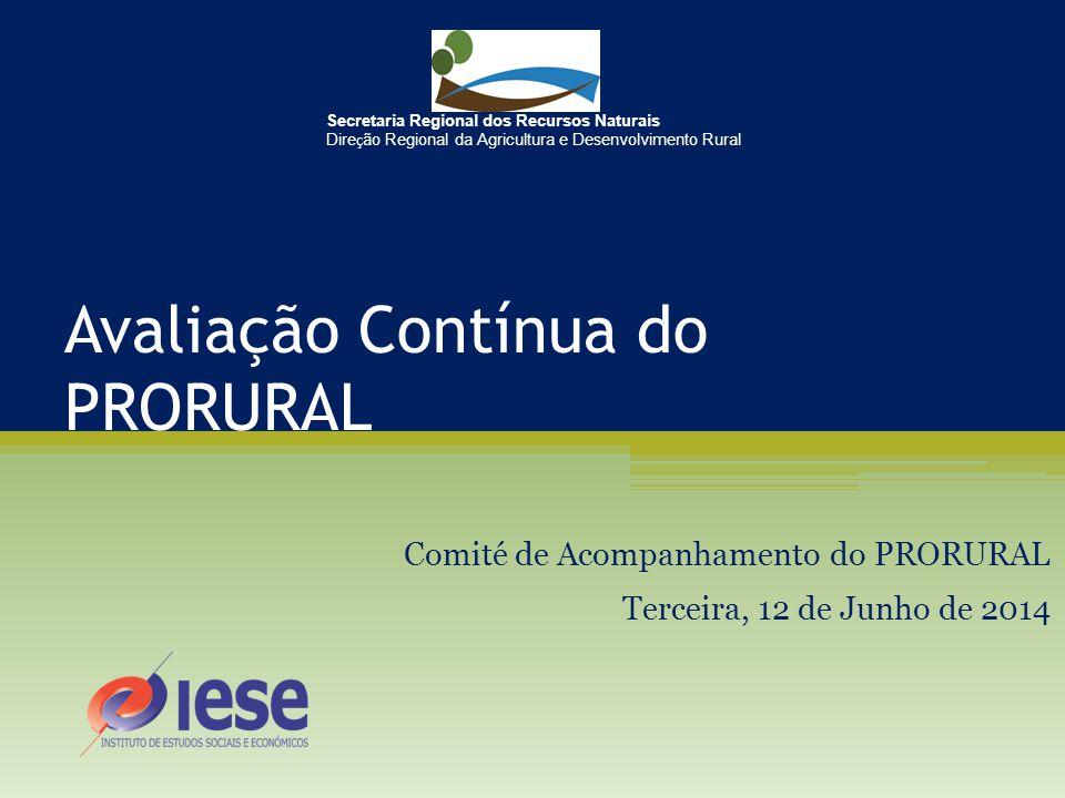 Avaliação Contínua do PRORURAL Comité de Acompanhamento do PRORURAL Terceira, 12 de Junho de 2014 Secretaria Regional dos Recursos Naturais Dire ç ão Regional da Agricultura e Desenvolvimento Rural