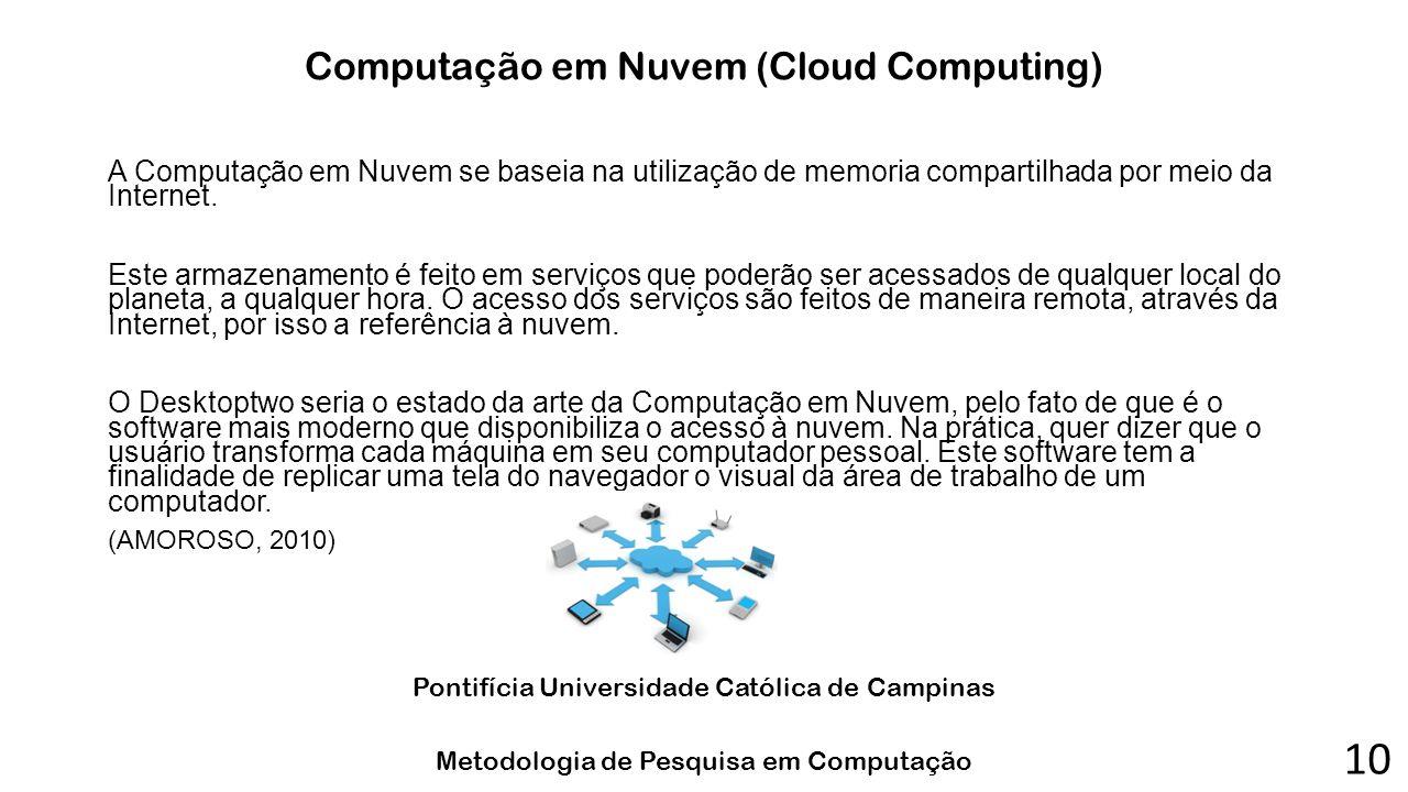 Computação em Nuvem (Cloud Computing) A Computação em Nuvem se baseia na utilização de memoria compartilhada por meio da Internet. Este armazenamento