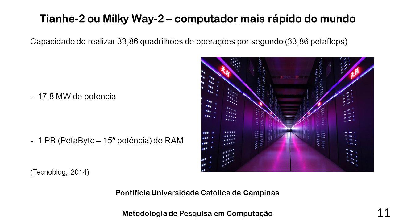 Tianhe-2 ou Milky Way-2 – computador mais rápido do mundo Capacidade de realizar 33,86 quadrilhões de operações por segundo (33,86 petaflops) -17,8 MW