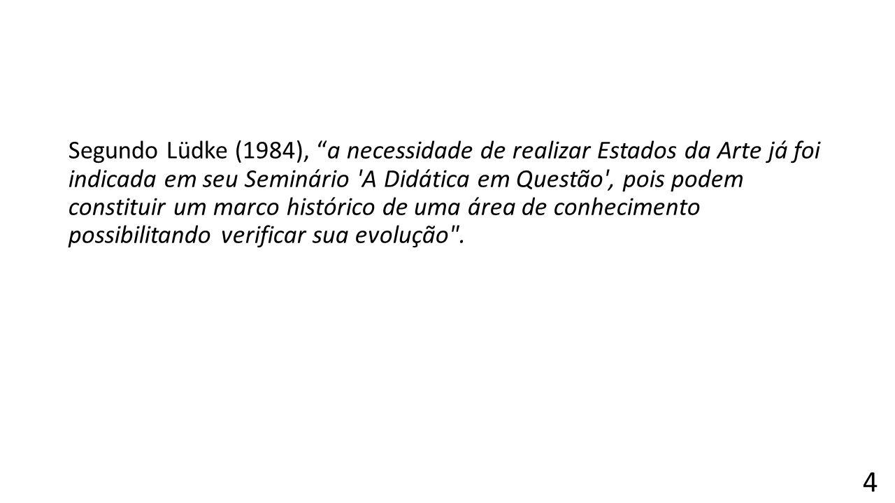 """Segundo Lüdke (1984), """"a necessidade de realizar Estados da Arte já foi indicada em seu Seminário 'A Didática em Questão', pois podem constituir um ma"""