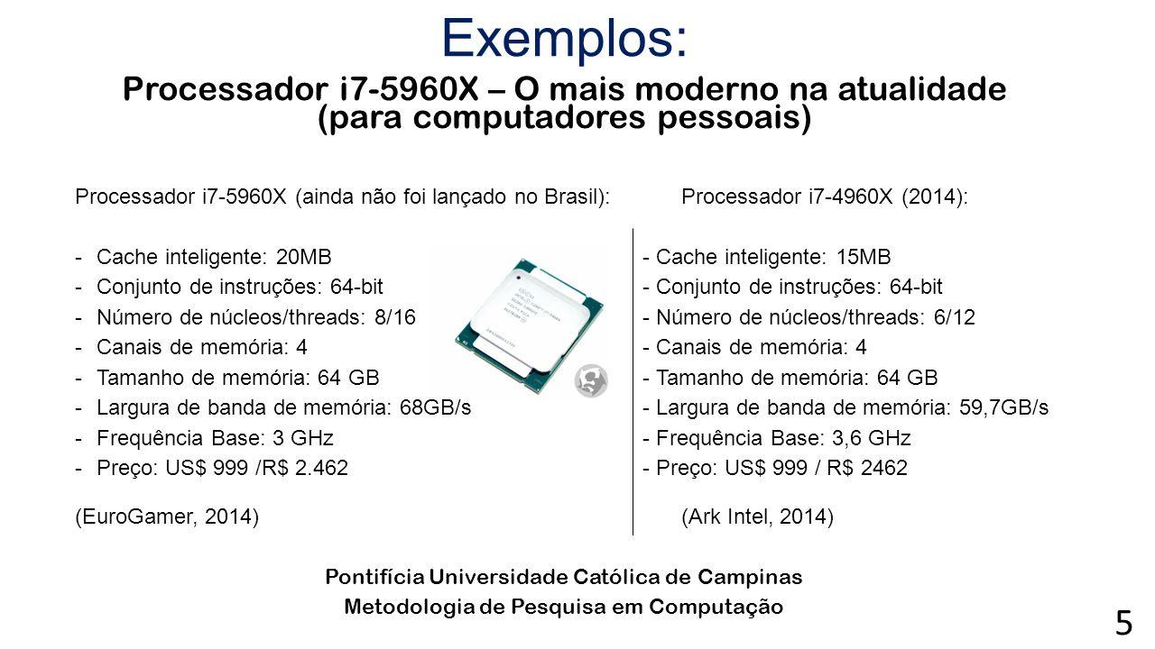 Exemplos: Processador i7-5960X – O mais moderno na atualidade (para computadores pessoais) Processador i7-5960X (ainda não foi lançado no Brasil):Proc