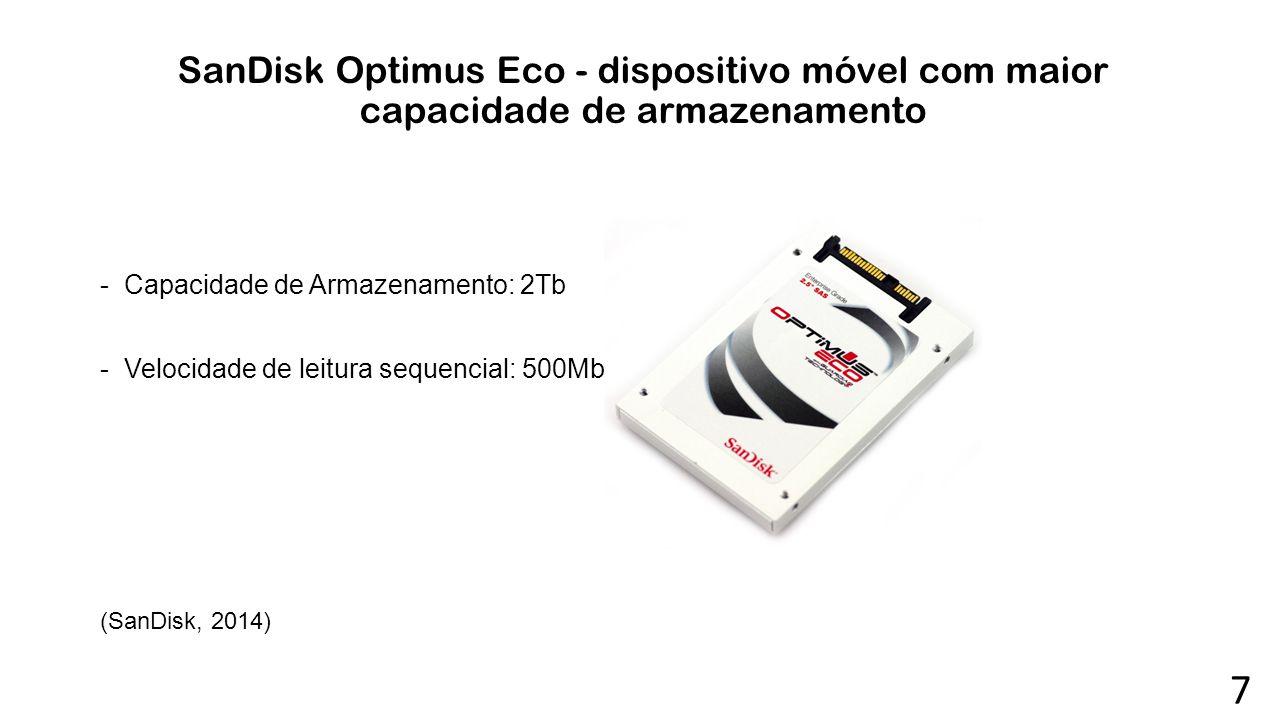 SanDisk Optimus Eco - dispositivo móvel com maior capacidade de armazenamento -Capacidade de Armazenamento: 2Tb -Velocidade de leitura sequencial: 500