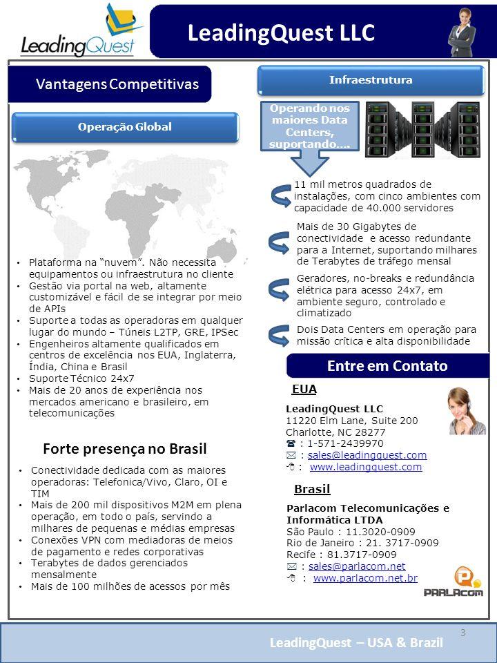 LeadingQuest – USA & Brazil Vantagens Competitivas Conectividade dedicada com as maiores operadoras: Telefonica/Vivo, Claro, OI e TIM Mais de 200 mil dispositivos M2M em plena operação, em todo o país, servindo a milhares de pequenas e médias empresas Conexões VPN com mediadoras de meios de pagamento e redes corporativas Terabytes de dados gerenciados mensalmente Mais de 100 milhões de acessos por mês EUA LeadingQuest LLC 11220 Elm Lane, Suite 200 Charlotte, NC 28277  : 1-571-2439970  : sales@leadingquest.comsales@leadingquest.com  : www.leadingquest.comwww.leadingquest.com 3 Operação Global Plataforma na nuvem .