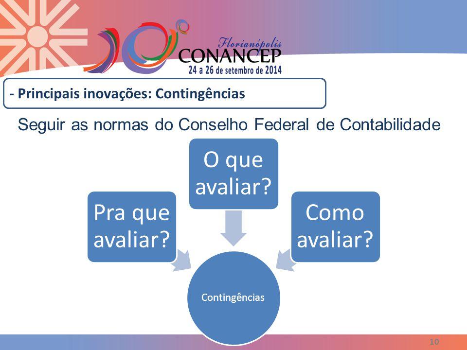 10 - Principais inovações: Contingências Seguir as normas do Conselho Federal de Contabilidade Contingências Pra que avaliar? O que avaliar? Como aval