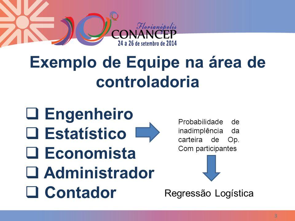 3  Engenheiro  Estatístico  Economista  Administrador  Contador Regressão Logística Probabilidade de inadimplência da carteira de Op. Com partici
