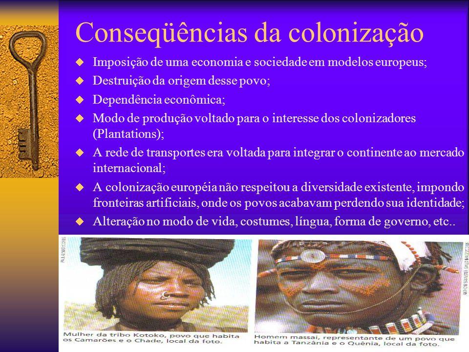 Conseqüências da descolonização  Golpes militares;  Guerras civis;  Segregação racial;  Hostilização aos migrantes europeus;  Admissão da economi