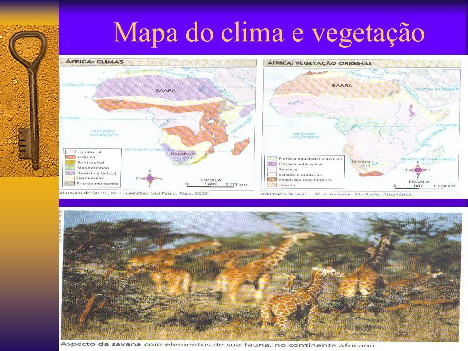 Mapa do relevo africano É o mais tropical dos continentes; Cortado ao meio pelo Equador; Cortado ao norte pelo Trópico de Câncer; Cortado ao sul pelo