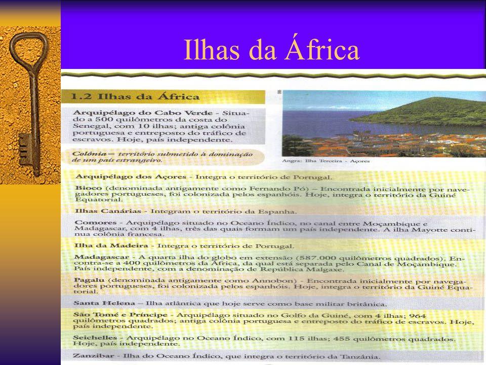 Aspectos gerais da África  Extensão: 30.000.000 Km2 ;  População: 818 milhões;  Existência de 53 nações;  Existência de ilhas ao leste;  A heranç
