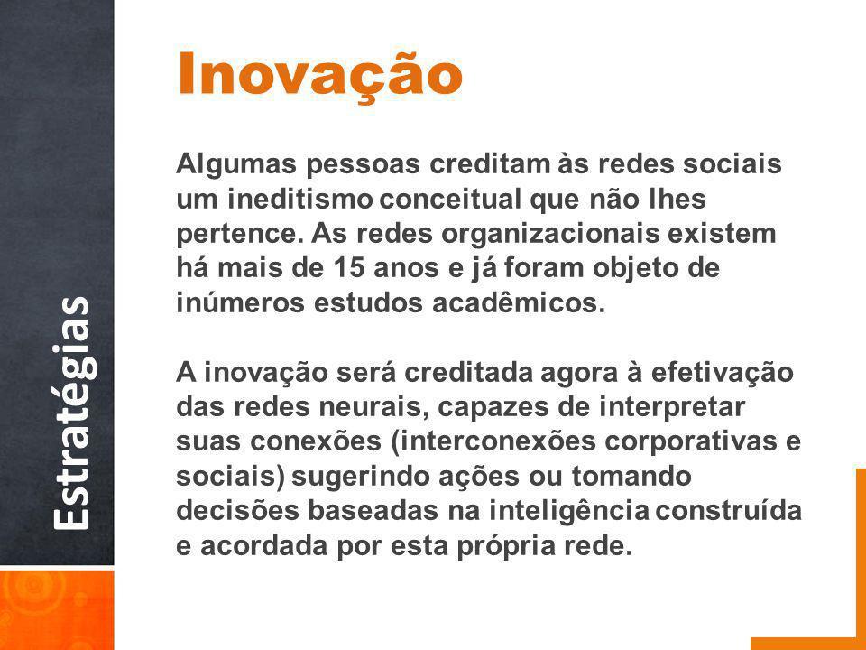 Estratégias Inovação Algumas pessoas creditam às redes sociais um ineditismo conceitual que não lhes pertence.