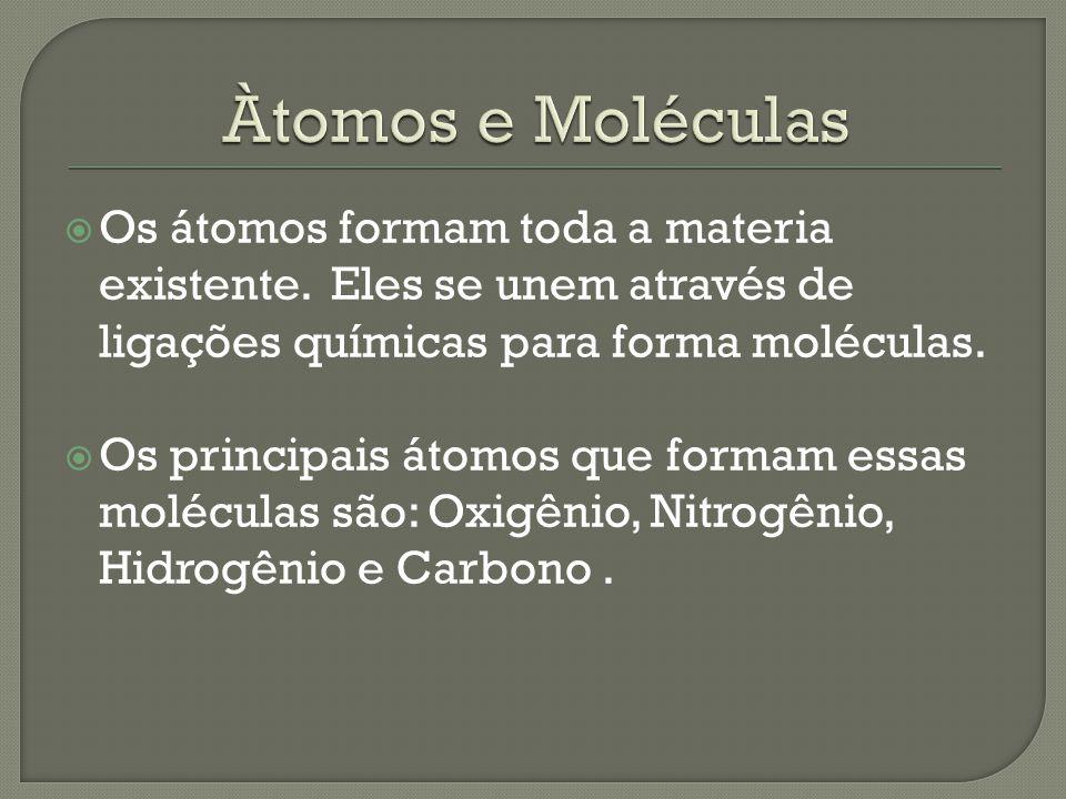  Os átomos formam toda a materia existente. Eles se unem através de ligações químicas para forma moléculas.  Os principais átomos que formam essas m