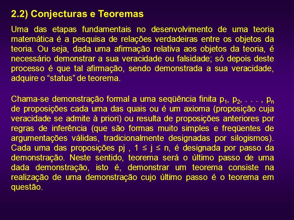 2.2) Conjecturas e Teoremas Uma das etapas fundamentais no desenvolvimento de uma teoria matemática é a pesquisa de relações verdadeiras entre os obje