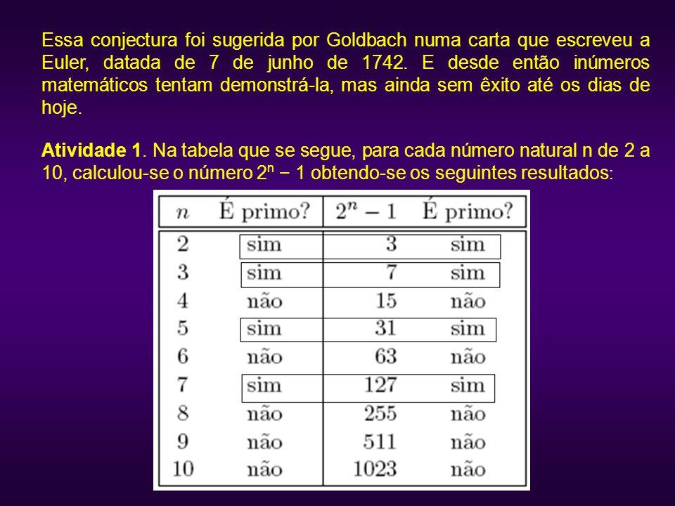 Essa conjectura foi sugerida por Goldbach numa carta que escreveu a Euler, datada de 7 de junho de 1742. E desde então inúmeros matemáticos tentam dem