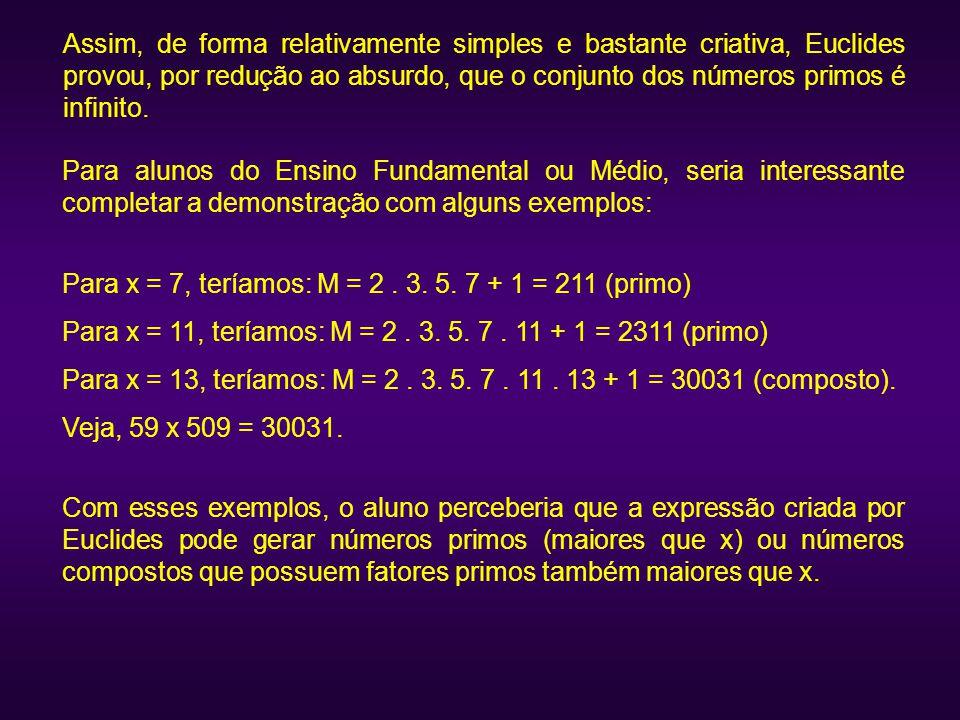 Assim, de forma relativamente simples e bastante criativa, Euclides provou, por redução ao absurdo, que o conjunto dos números primos é infinito. Para