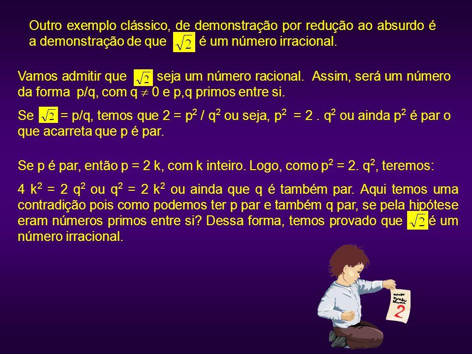 Vamos admitir que seja um número racional. Assim, será um número da forma p/q, com q  0 e p,q primos entre si. Se = p/q, temos que 2 = p 2 / q 2 ou s