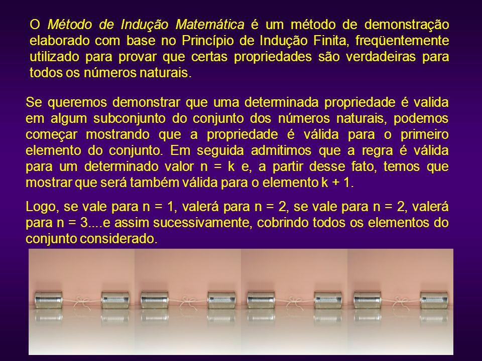 Se queremos demonstrar que uma determinada propriedade é valida em algum subconjunto do conjunto dos números naturais, podemos começar mostrando que a