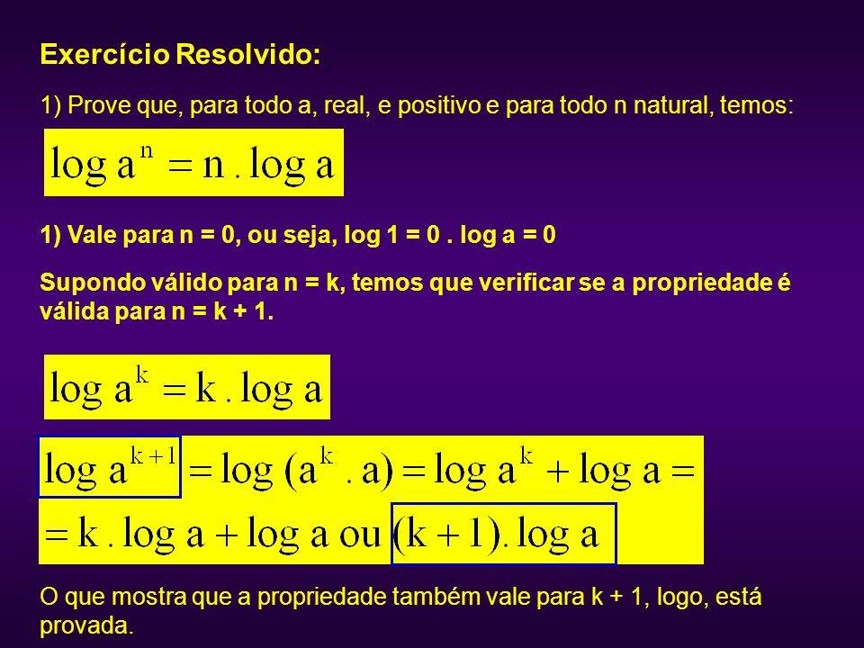 Exercício Resolvido: 1) Prove que, para todo a, real, e positivo e para todo n natural, temos: 1) Vale para n = 0, ou seja, log 1 = 0. log a = 0 Supon