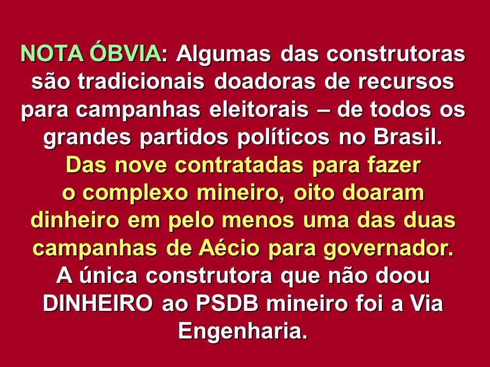 NOTA ÓBVIA: Algumas das construtoras são tradicionais doadoras de recursos para campanhas eleitorais – de todos os grandes partidos políticos no Brasi