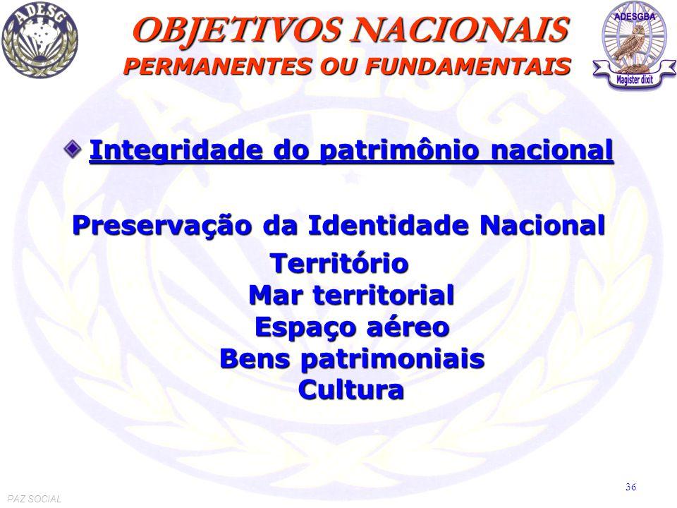 Integridade do patrimônio nacional Preservação da Identidade Nacional Território Mar territorial Espaço aéreo Bens patrimoniais Cultura OBJETIVOS NACIONAIS PERMANENTES OU FUNDAMENTAIS PAZ SOCIAL 36