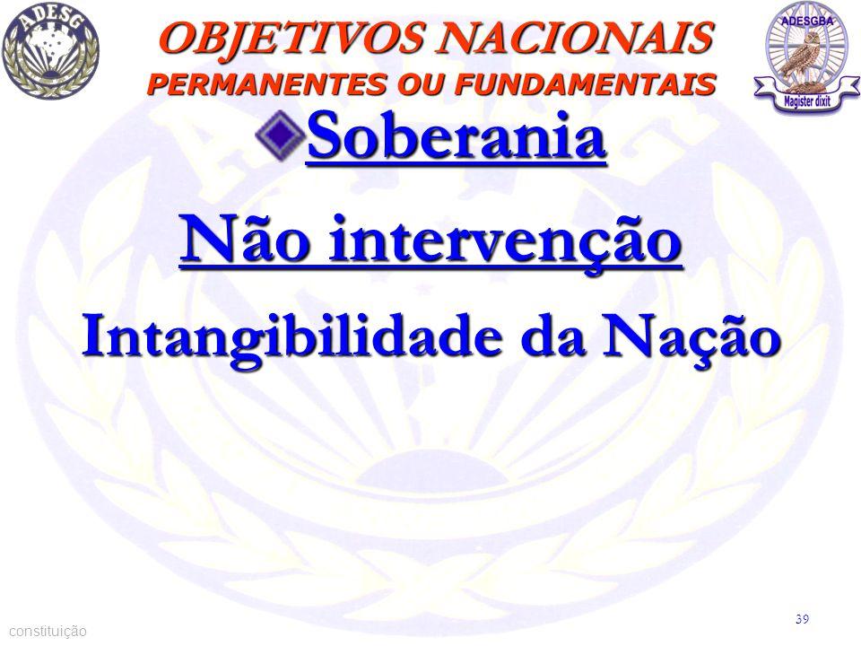 Soberania Não intervenção Intangibilidade da Nação constituição OBJETIVOS NACIONAIS PERMANENTES OU FUNDAMENTAIS 39