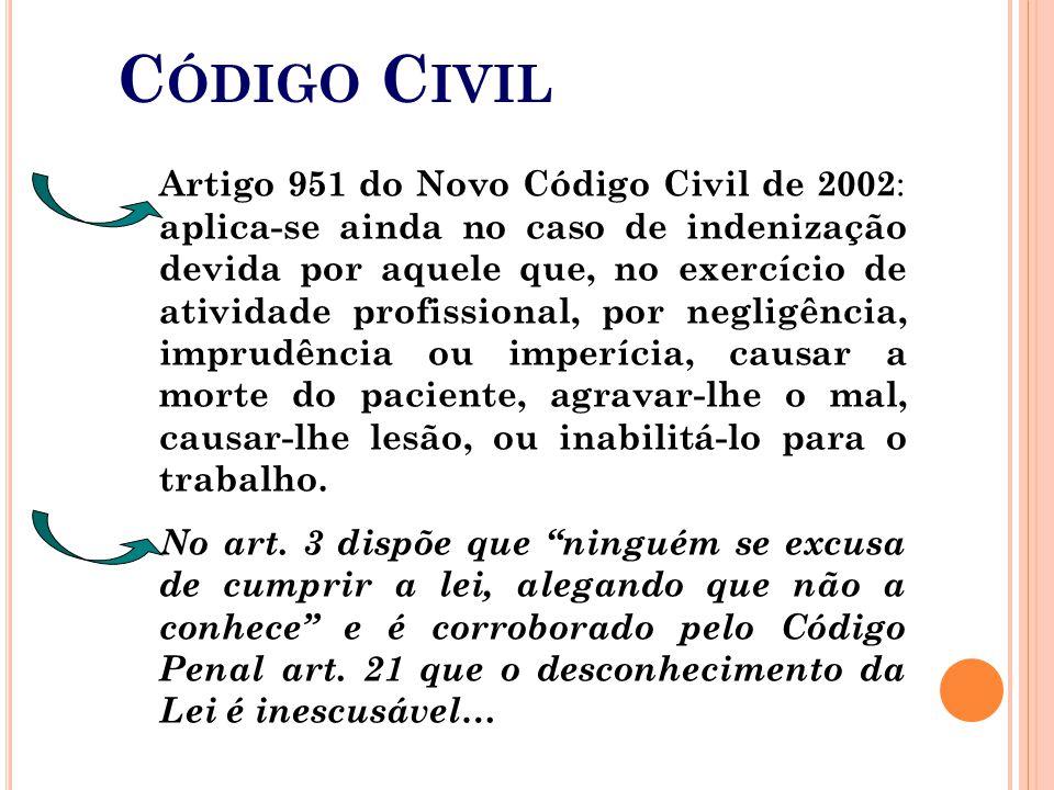 Artigo 951 do Novo Código Civil de 2002 : aplica-se ainda no caso de indenização devida por aquele que, no exercício de atividade profissional, por ne