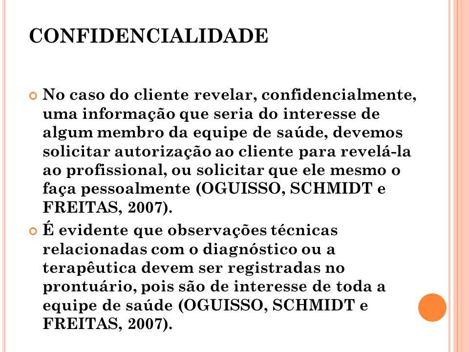 CONFIDENCIALIDADE No caso do cliente revelar, confidencialmente, uma informação que seria do interesse de algum membro da equipe de saúde, devemos sol