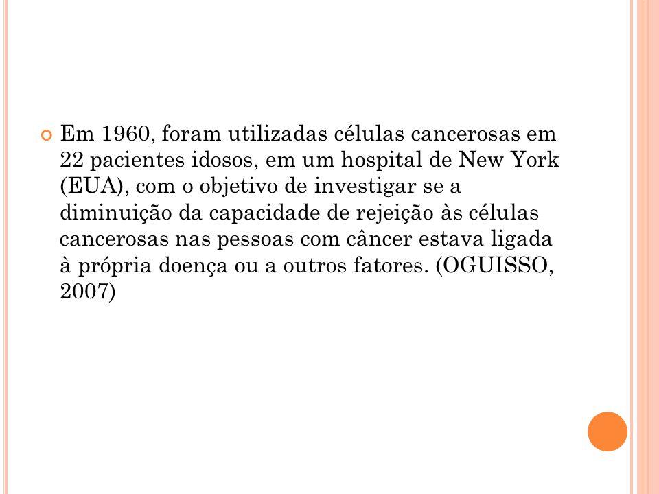 Em 1960, foram utilizadas células cancerosas em 22 pacientes idosos, em um hospital de New York (EUA), com o objetivo de investigar se a diminuição da